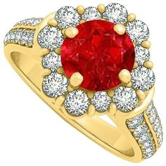 Pre-owned Pretty Gift Ruby And Cubic Zirconia Ring 2.00 Tgw (3.695 ARS) ❤ liked on Polyvore featuring jewelry, rings, accessories, red, pre owned jewelry, preowned jewelry, cz rings, cubic zirconia jewelry and red jewelry