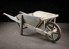 French Antique Wooden Wheelbarrow