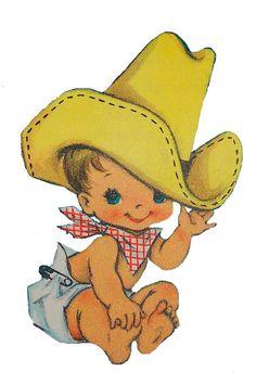 old fashioned baby cowboy Vintage Cowboy Nursery, Vintage Baby Boys, Vintage Cowgirl, Vintage Children, Clipart Baby, Bing Bilder, Cowboy Baby Shower, Babyshower, Little Cowboy