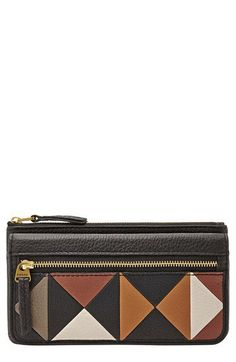Fossil 'Erin' Colorblock Leather Clutch Wallet | Nordstrom $68