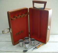 Vintage Travel Bar Case  Retro Portable Picnic Party by RetrOAmyO