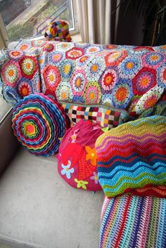 I love this blog Attic 24. The author, Lucy, uses vibrant color combinations and has tons of cheerful projects and tutorials. http://attic24.typepad.com/weblog/2012/02/keeping-warm.html