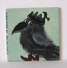 RABENKÖNIGIN von Herbivore11 Rabe Raben Königin Krone Inchie Minibild Crow Raven