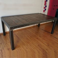 Table métal bois Furniture, Wood, Deco, Dining Bench, Table, Home Decor, Metal, Coffee Table, Ping Pong Table