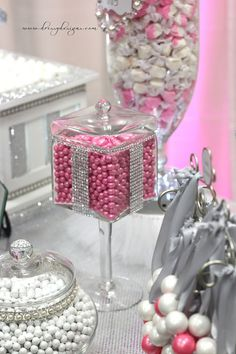 tall jars with bling accents...filled with colored candies...sweet