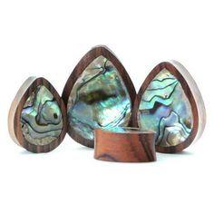Abalone Teardrop Plug - Plugs - Ear Gauges, Flesh Tunnels for Stretched Ears - Wood Plugs - 1