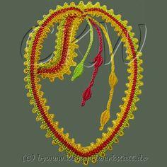 Chemnitzer Klöppelwerkstatt Lace Heart, Lace Jewelry, Bobbin Lace, Lace Detail, Creations, Butterfly, Yarns, Drawings, Apple Roses