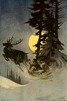 indigodreams: geisterseher: Thomas Nelson Page, Tommy Trot's Visit to Santa Claus Noel Christmas, Vintage Christmas Cards, Winter Christmas, Xmas, Christmas Postcards, Santa And Reindeer, Christmas Illustration, Winter Solstice, Vintage Santas