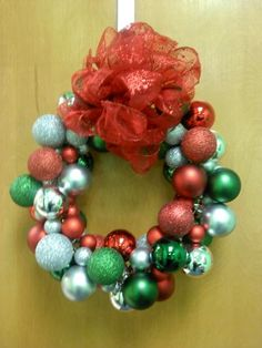 Ornament wreath that I made for my office door for Christmas last year