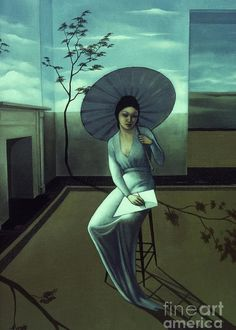 Umbrella Greeting Card featuring the painting Surreal Serenity by Jane Whiting Chrzanoska