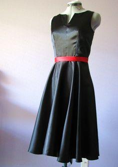 Black satin dress, vintage  inspired, formal,1950s, MAD MAN era.. $80,00, via Etsy.