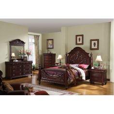 dark cherry wood queen size panel bed bedroom set 1 amazon
