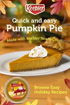Keebler® Ready Crust® makes holiday baking quick, easy and deliciously tasty. Your friends and family will be so impressed. Tap the Pin for more recipes. Perfect Pumpkin Pie, Easy Pumpkin Pie, Easy Pie, Pumpkin Pie Recipes, Pumpkin Dessert, Köstliche Desserts, Delicious Desserts, Cake Recipes, Plate