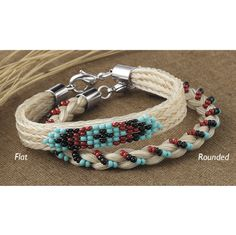 Braided and Beaded Horsehair Bracelet Flat - Horse Themed Gifts, Clothing, Jewelry and Accessories all for Horse Lovers | Back In The Saddle...