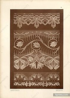 Original vintage published in 1903 Felix Aubert Projects of laces and Embroidery 30 Plates, Publisher Emile Levy — Misc. Lace Design, My Design, Types Of Lace, White Embroidery, Fabric Wallpaper, Fashion Plates, Vintage Lace, Erotica, Art Nouveau