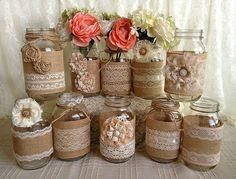 rustic burlap and lace covered mason jar vases wedding d .- rustic burlap and lace covered mason jar vases wedding decoration. 10 x rustic burlap and lace covered mason jar vases, wedding decor, bridal shower, engagement, anniversary party decor - Burlap Mason Jars, Mason Jar Vases, Mason Jar Crafts, Pot Mason, Glass Jars, Baby Shower Decorations, Wedding Decorations, Wedding Ideas, Wedding Gifts