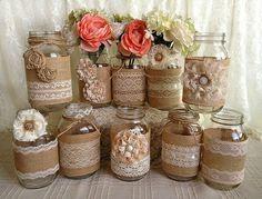 Tarros de masón de arpillera rústica por PorterAvenue en Etsy