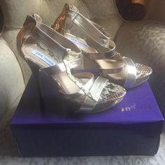 Steve Madden Gold and snakeskin sandals. Beautiful Gold and Snakeskin high heel sandals by Steve Madden. Only worn once, great condition. Steve Madden Shoes Heels