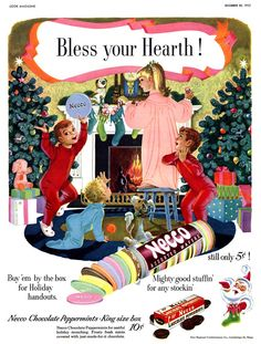 Vintage Christmas Ad ~ Necco Wafers ~ Used to love to get these from a little candy store by the park in the town both sets of my Grandparents lived in. Old Christmas, Old Fashioned Christmas, Vintage Christmas Cards, Retro Christmas, Christmas Images, Vintage Holiday, Christmas Ideas, Christmas Adverts, Christmas Calendar