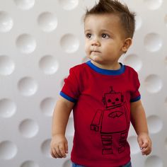 Shifty t-shirt. Who said robots couldn't dance? Check these moves out $18 #perfectlybaked #kidsclothing #kids #babies #boy #red #tshirt #screenprinting #cotton #babycotton #robots #love #cute #pimacotton