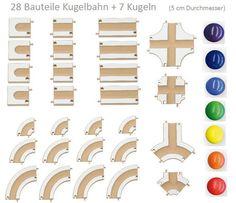 Kugelbahn aus Holz für Kleinkinder - Übersicht der 28 Bauteile mit 7 Kugeln