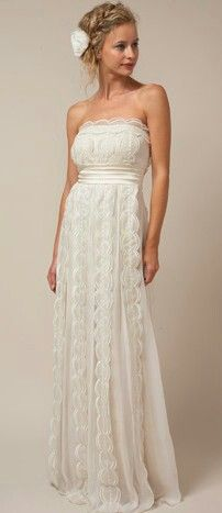Simple wedding dress. I like the shape not the fabric though.