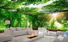 Living Room Green Wallpaper Wall Murals Ideas For 2019 Wallpaper Wall, 3d Wallpaper Living Room, Green Wallpaper, Forest Wallpaper, Ceiling Murals, Floor Murals, Mural Wall Art, Living Room Green, Living Room Art