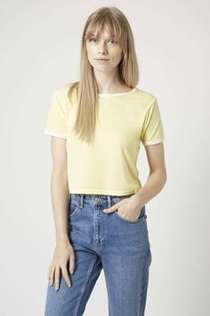 Photo 3 of Contrast Trim Cropped Tee