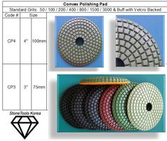 Convex Polishing Pad  for curved stone polishing jobs; for fast and easy edge polishing on stone counter tops. Made in Korea guarantees consistent high quality. Formica Countertops, Tile Counters, Cheap Countertops, Butcher Block Countertops, Subway Tile Backsplash, Concrete Countertops, Butcher Blocks, Cheap Kitchen Cabinets, Diy Epoxy