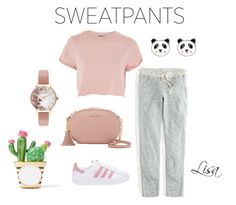 """""""Comfy Sweatpants"""" by coolmommy44 ❤ liked on Polyvore featuring J.Crew, Topshop, adidas Originals, MICHAEL Michael Kors, Olivia Burton, Accessorize, Kate Spade, sweatpants, polyvoreeditorial and polyvorecontest"""