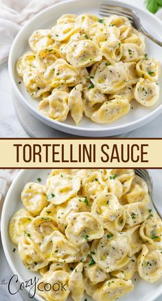 This Creamy Tortellini Sauce makes an easy 30 minute meal that you can use with refrigerated or frozen tortellini. Your family will love the Asiago and Parmesan cream sauce with browned butter, garlic, and the best blend of herbs and seasonings. Wine Recipes, Pasta Recipes, Beef Recipes, Cooking Recipes, Yummy Chicken Recipes, Yum Yum Chicken, Easy Dinner Recipes, Side Dishes Easy, Tasty Dishes