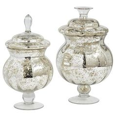 Mercury Glass Apothecary Jars--these can go anywhere but I'm planning on glamming up my bathroom window sill with them.  at the same time, thy can serve as storage pieces.