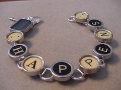 Typewriter Key Jewelry Bracelet  SHIFT HAPPENS  by magiccloset, $42.00