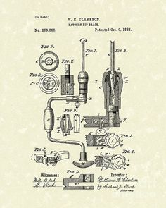 Clarkson Bit Brace 1883 Patent Art This patent art print is based on a Clarkson Bit Brace patent from 1883. #patentart #tools