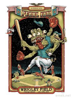 2013 Pearl Jam - Chicago Silkscreen Concert Poster AP by Emek Tour Posters, Band Posters, Music Posters, Radiohead, Wrigley Field Chicago, American Flag Banner, Pearl Jam Posters, Comics Vintage, Dope Wallpapers