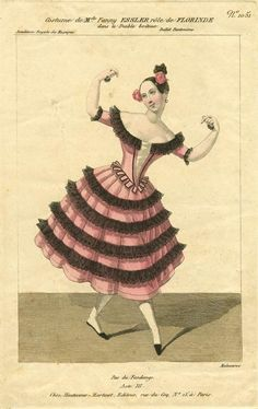 """Dancer Fanny Elssler (1810-1884) performing fandango dance step, Engraving, 19th century. Historisches Museum Der Stadt Wien. Dance left the elegance of a formal indoor setting for codified structures and steps, moving """"outdoors"""" with a focus on popular rustic dances of celebration. An example shown here is a solo 'Florinde' in the dance La Cachucha – first performed by Fanny Elssler, the epitome of Romantic ballet, in 1836."""