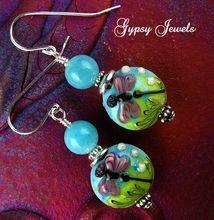 Damselfly Dreams Earrings - Lamp-work Glass, Stones and Sterling