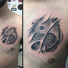 Cool Mens Ripping Out Of Skin Tattoos On Chest