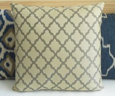 Gray quatrefoil morrocan decorative pillow by pillowflightpdx, $38.00