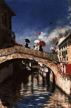 Giovanni Segantini「Il Naviglio a Ponte San Marco」(1880)