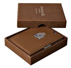 Exentri Trifold Leather Wallet with Locking Device Stylish Sophisticated Compact  Brown Leather *** Click on the image for additional details.
