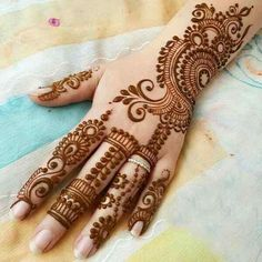 Explore latest Mehndi Designs images in 2019 on Happy Shappy. Mehendi design is also known as the heena design or henna patterns worldwide. We are here with the best mehndi designs images from worldwide. Henna Hand Designs, Eid Mehndi Designs, Mehndi Designs Finger, Mehndi Designs For Girls, Mehndi Designs For Beginners, Modern Mehndi Designs, Mehndi Design Pictures, Wedding Mehndi Designs, Beautiful Mehndi Design