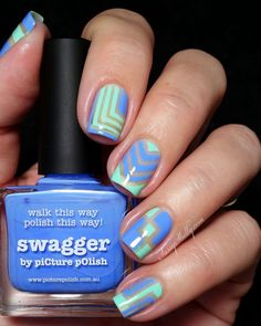 "piCture pOlish ""Blog / Insta Fest 2014"" Honeydew & Swagger negative space nail art with ""right angle"" Nail Vinyls 
