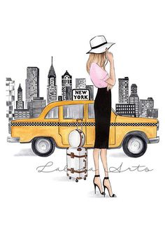 New York print New York art Fashion Illustration New York wall art Fashion wall art New York Poster NYC art Watercolor fashion Fashionista This is a print - copy of my original artwork drawn with soft pastel and watercolor pencils. Available in 3 different sizes: A6 (4x6inches), A5