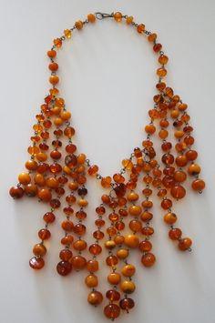 89.3gr.Antique Vintage Natural Baltic Amber Beads Necklace Choker #Handmade #Necklace