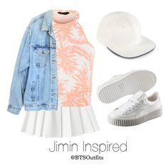 """""""Jimin Inspired w/ Tropical Prints"""" by btsoutfits ❤ liked on Polyvore featuring American Apparel, Puma, Levi's and adidas"""
