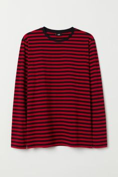 H&M Long-sleeved Cotton Shirt - Red Style Grunge, Soft Grunge, Striped Long Sleeve Shirt, Long Sleeve Shirts, Red And Black Shirt, Red Black, Red Shirt, Tokyo Street Fashion, Stripped Shirt
