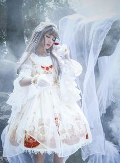 Fairytale Forest -The Mirror of Metempsychosis- Lolita JSK Version I,Lolita Dresses, Lolita Cosplay, Cosplay Girls, Fantasy Dress, Fantasy Girl, Quirky Fashion, Lolita Fashion, Harajuku Fashion, Japan Fashion, Little Girls Fancy Dresses