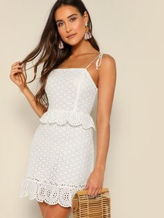 To find out about the Tied Shoulder Ruffle Trim Schiffy Dress at SHEIN, part of our latest Dresses ready to shop online today! Summer Dresses For Women, Dresses For Sale, Mini Dresses, Peasant Dresses, Baby Dresses, Embroidery Dress, Tie Dress, Latest Dress, Ruffle Trim