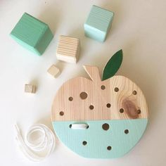 handmade wooden lacing apple toy